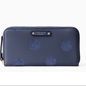 Authentic Kate Spade leather navy glitter wallet.